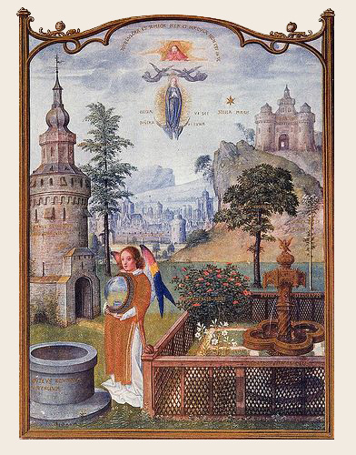 1490-1510-Grimani-Breviary---Mystical-Attributes-of-the-Virgin.-Actually-quite-a-lovely-landscape-and-enclosed-garden.