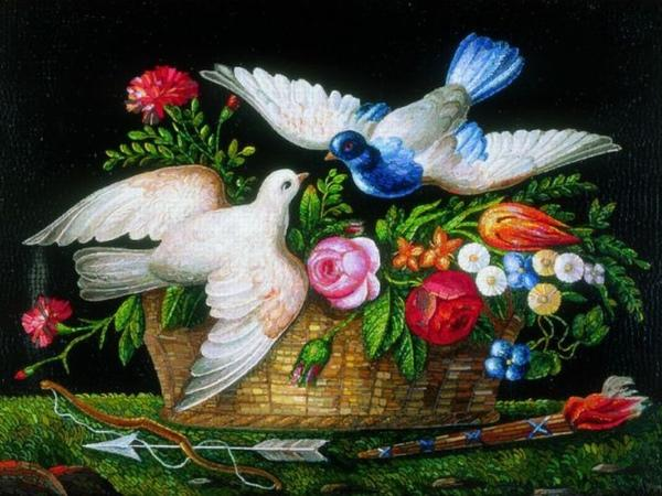 Cesto di fiori con simboli di Amore
