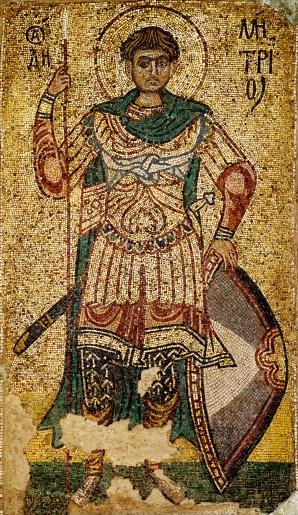 Icona di san Demetrio, mosaico, 1113 ca., monastero di san Michele, Kiev