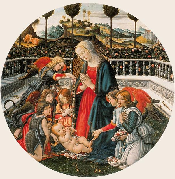 Francesco-Botticini-Madonna-in-adorazione-del-Bambino-con-san-Giovannino-e-angeli.-123cm,-ca.-1485-Palazzo-Pitti,-Florence