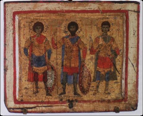 Icona con i santi Demetrio, Giorgio e Teodoro, tempera d'uovo su tavola di legno di castagno, fine XII - inizio XII secolo, Hermitage, S. Pietroburgo