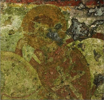 San Demetrio con lo scudo crociato (part.), affresco, XIII secolo ca., basilica di Sant'Antonio Abate, Nardò