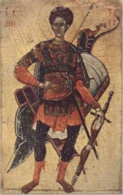 : Icona di San Demetrio da Chilandar (?), tardo XIV secolo, Museo di Arti Applicate di Belgrado, Serbia