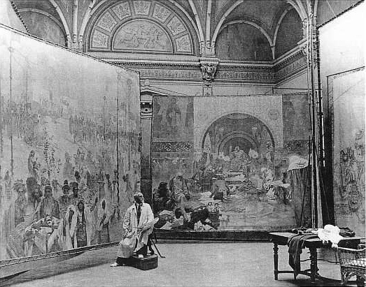 alfons_mucha_at_work_on_slav_epic