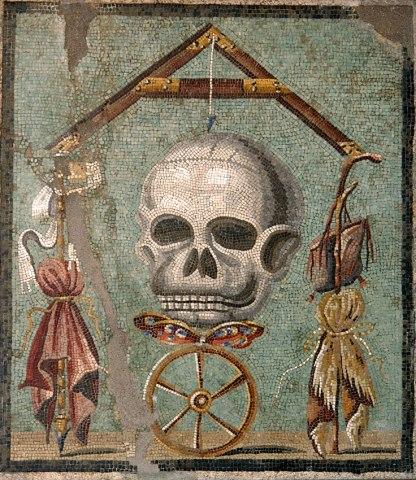 memento-mori, mosaico di Pompei, Museo archeologico Nazionale di Napoli